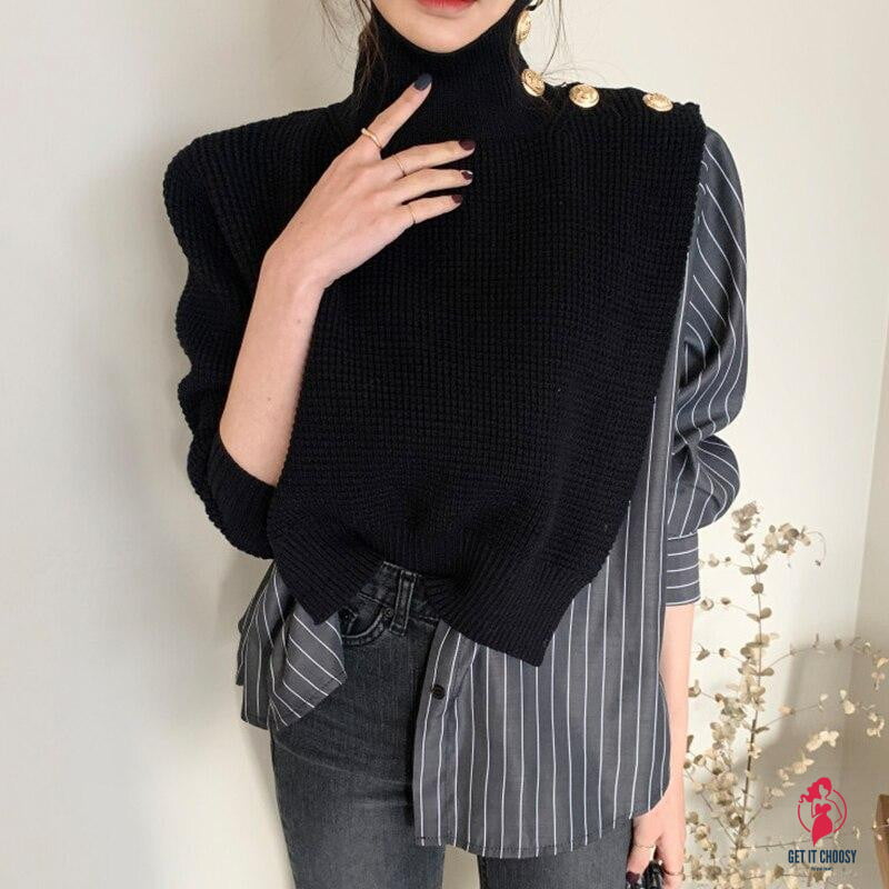 Korean Chic High Collar Side Buttons Fake Two-piece Shirt Stitching Striped Bubble Sleeve Sweater Blue women - Get It Choosy