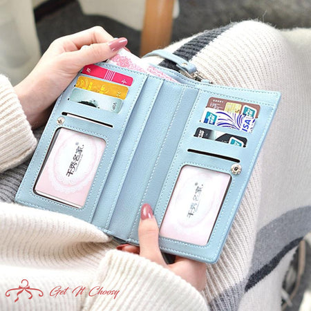 Women Casual Wallet Brand Cell Phone Wallet Big Card Holders Wallet Handbag Purse Clutch Messenger Shoulder Straps Bag by Getitchoosy