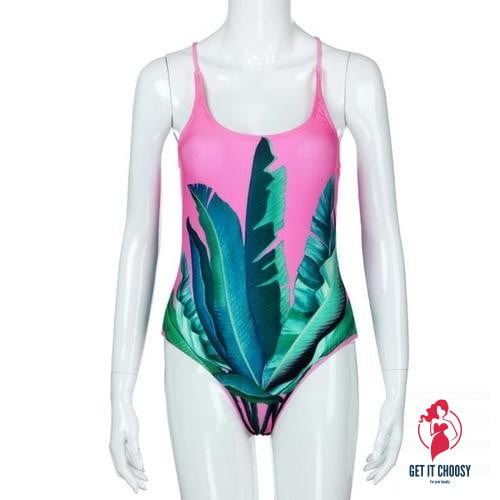 Fabulous Women Leaf Print Swimsuit Beachwear by Getitchoosy