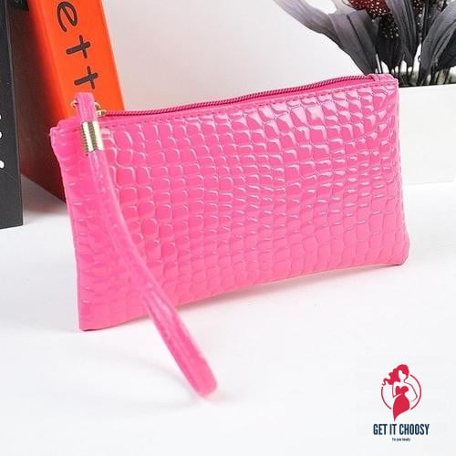 Womens Crocodile PU Leather Clutch Handbag by Getitchoosy
