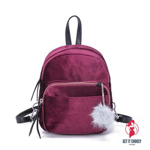 Fashion Backpack Women Mini Fur Ball School Bags by Getitchoosy