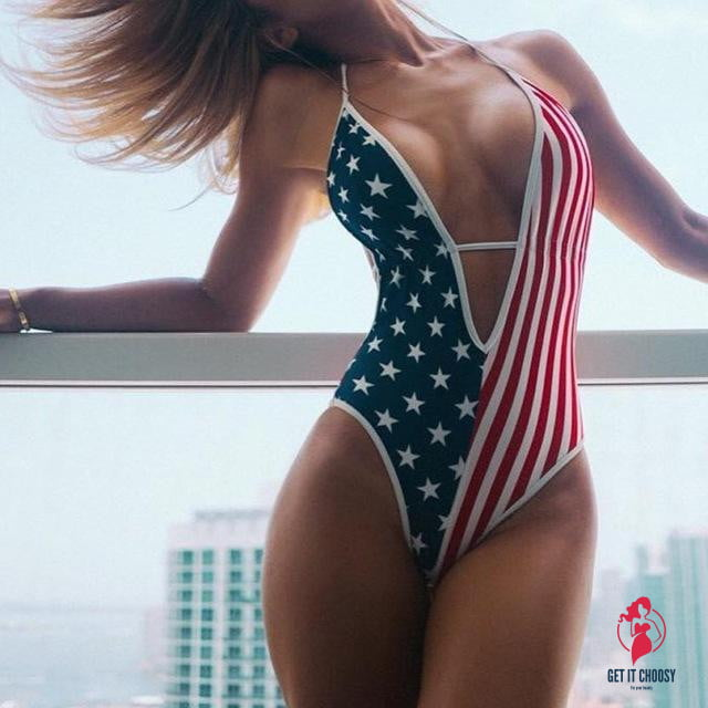 Flawless Women's US Flag Print Beach Swimsuit by Getitchoosy