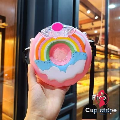 New Summer Cute Donut Ice Cream Water Bottle With Straw Creative Square Watermelon Cup Portable Leakproof Tritan Bottle BPA Free