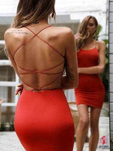 Women Sexy Bodycon Party Dresses Backless Spaghetti Straps Clubwear Mini Dress low neck