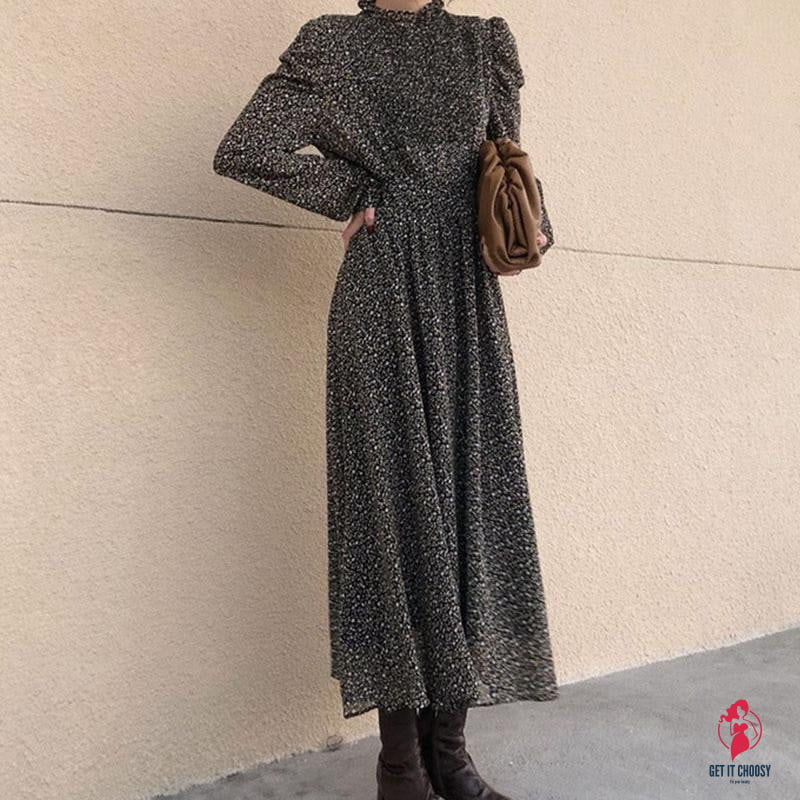 Vintage Stand Collar Ruched Sleeve A-line Dress Women Floral Print Elastic Waist Female Dress - Get It Choosy