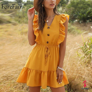 Women Dress Ruffle 2020 Off Shoulder Tunic High Waist Party V Neck Casual Boho Beach Yellow Women Summer Dress