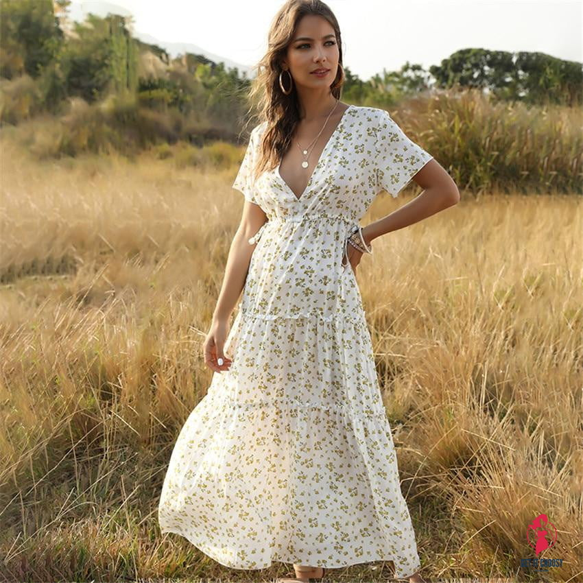 Summer Beach Holiday Dress Women Casual Floral Print Elegant  Boho Long Dress Ruffle Short-Sleeve V-neck Sexy Party Robe