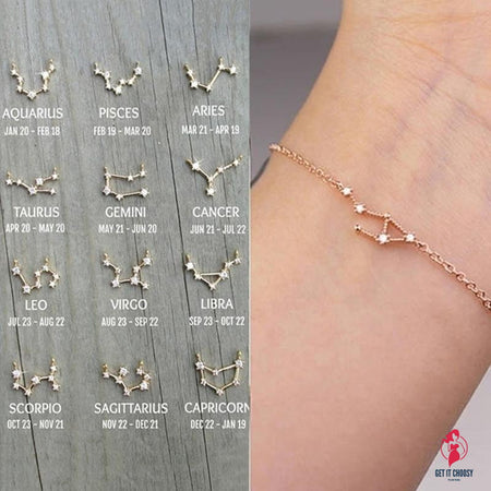 Constellation Simple Bracelets for Women Charm Zodiac Pattern Chain Bangles Baby Birthday Bracelet Jewelry Gift