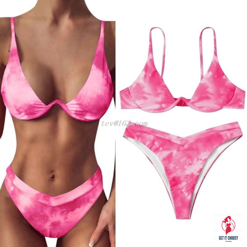 Women Sexy Brazilian 2 Piece Swimming Suit Bikini Set Gradient Tie-Dye Printed Push Up Underwire Swimsuit High Cut Bathing Suit