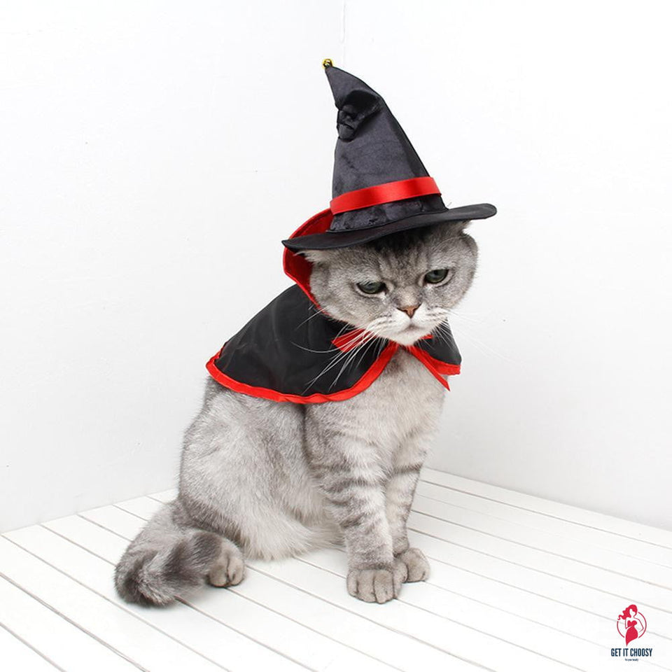 Pet Halloween Cloak Hat Set Cat Dog Cosplay Clothes Halloween Masquerade Pet Performance Costume