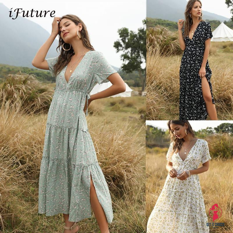 Summer Beach Holiday Dress Women Casual Floral Print Elegant  Boho Long Dress Ruffle Short-Sleeve V-neck Sexy Party Robe - Get It Choosy