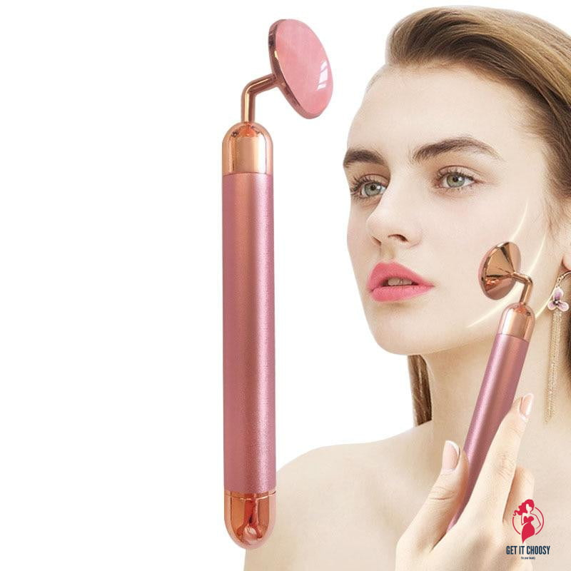 Electric Rose Quartz Roller Slimming Face Massager Lifting Natural Jade Facial Massage Stone Skin Massage Tool Gold Beauty Bar