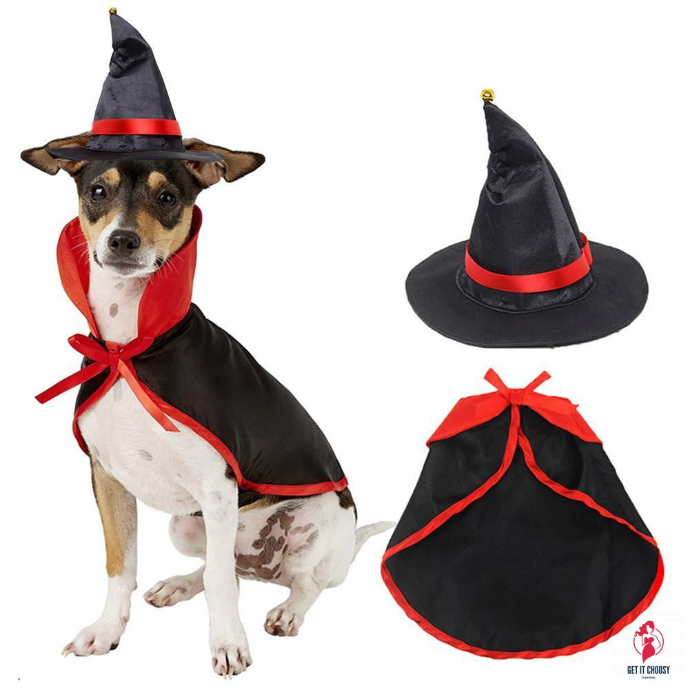 Pet Halloween Cloak Hat Set Cat Dog Cosplay Clothes Halloween Masquerade Pet Performance Costume - Get It Choosy