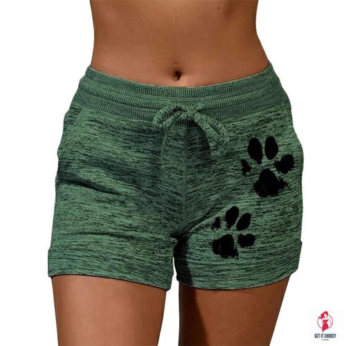Fast Drying Drawstring cat paw print shorts Lace Up High Waist Elastic Cotton Short Women Beach Casual Sport Shorts
