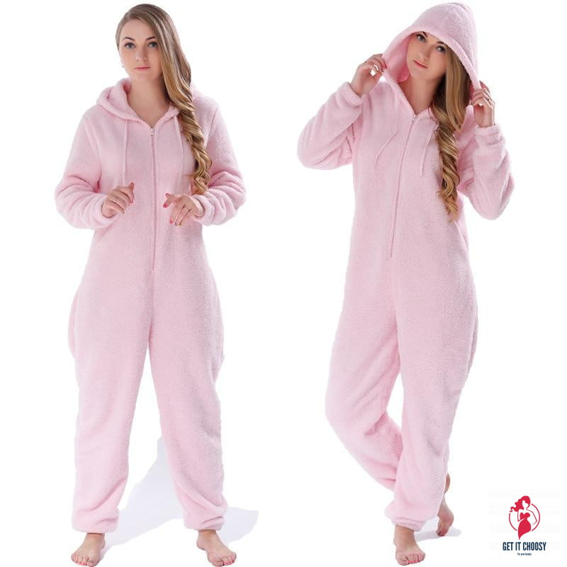 Winter Warm Pyjamas Women Onesies Fluffy Fleece Jumpsuits Sleepwear Overall Large Size Hood Sets Pajamas Onesie For Women - Get It Choosy