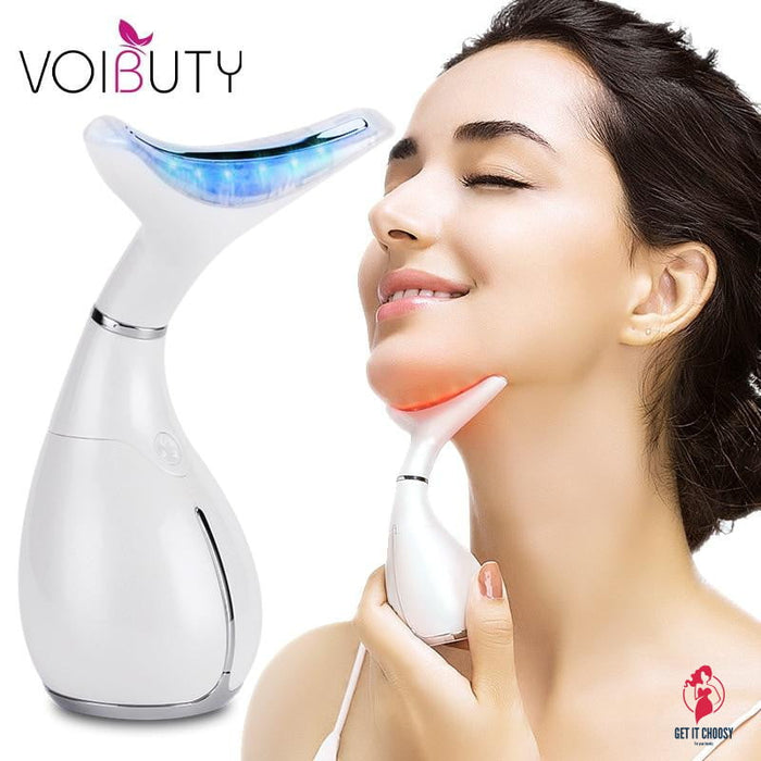 LED Photon Therapy  Neck and Face Lifting Massager Vibration Skin Tighten Reduce Double Chin Anti-Wrinkle Remove Device
