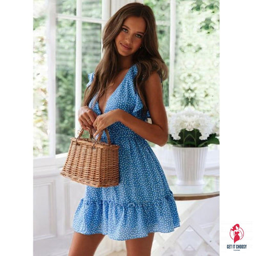Summer new fashion female V-neck sexy boho beach casual dress sleeveless ladies slim dress