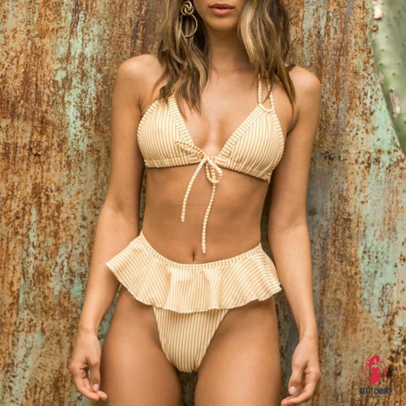 Striped Ruffle Push up Bikini by Getitchoosy