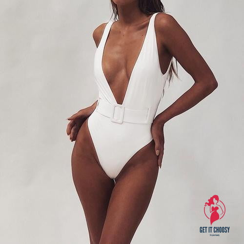 Sexy Solid Deep-V Swimwear Summer Bathing Suit by Getitchoosy