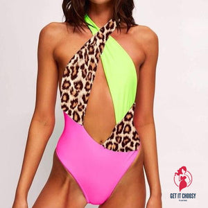 Women Cross Patchwork Leopard Printed Swimsuit by Getitchoosy