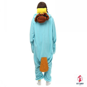 Unisex Perry the Platypus Costumes Onesies Monster Cosplay Pajamas Adult Pyjamas Animal Sleepwear Jumpsuit