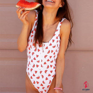 Watermelon Printed Zipper One-piece Swimsuit by Getitchoosy