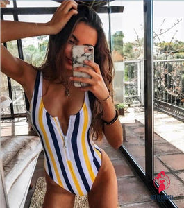 Stripe Zipper One-piece Swimsuit by Getitchoosy