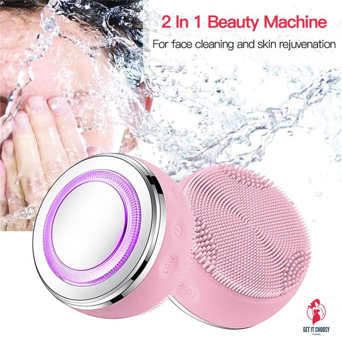 2in1 LED Light Silicone Heating Face Cleanser Massage Facial Cleaning Skin Scrub Washing Brush Skin Care Cleaner Massager