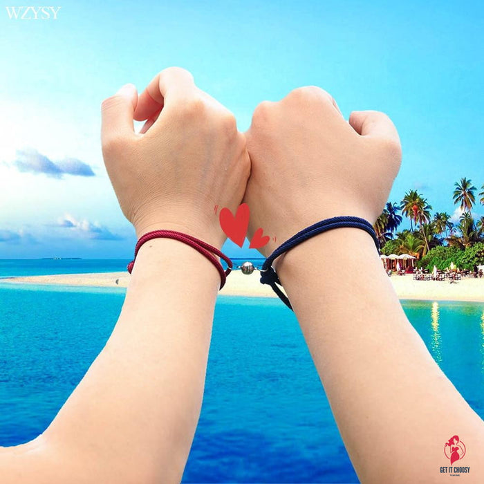 2PCS/SET alloy couple magnetic attraction ball creative Bracelet Stainless Steel friendship rope men and women jewelry gift