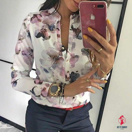 V-neck Floral Print Vintage Ladies Office Shirts by Getitchoosy