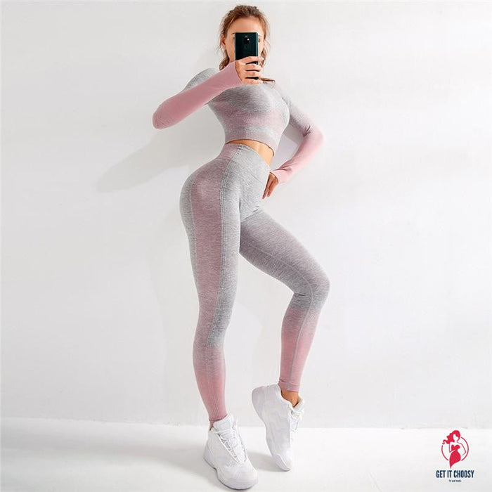 Sport Set Women Seamless Yoga Set Women Gym Clothes Long Sleeve Ombre Legging set High Waisted Winter Gym Wear Tight Yoga Suit