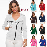 Women's Hooded Sweatshirt Hot Sale Oblique Zipper Fashion Beautiful Sexy Female Slim Long Sleeves Coat Multi-size XS-3XL