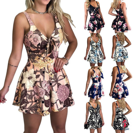 jumpsuit summer print sexy women clothing V-neck Shorts Short Sleeve combinaison femme fashion beach romper Party bodysuit