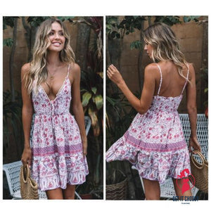 Summer Boho Sexy Chiffion Mini Dress Women Deep V-neck Sleeveless Party Beach Dress Sundress