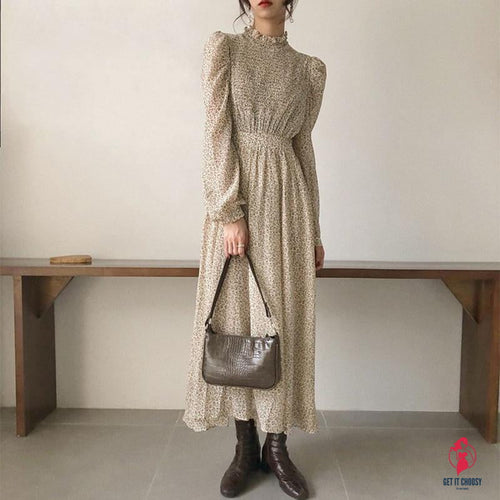 Vintage Stand Collar Ruched Sleeve A-line Dress Women Floral Print Elastic Waist Female Dress
