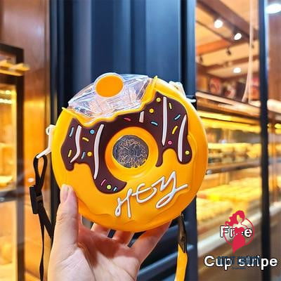 New Summer Cute Donut Ice Cream Water Bottle With Straw Creative Square Watermelon Cup Portable Leakproof Tritan Bottle BPA Free - Get It Choosy