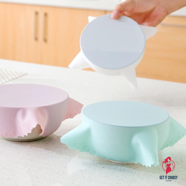 Bowl Lid Silicone Plastic Wrap Cover by Getitchoosy