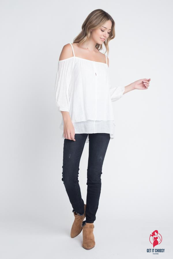 Women's 3/4 Sleeve Cold Shoulder Buttoned Top by Getitchoosy