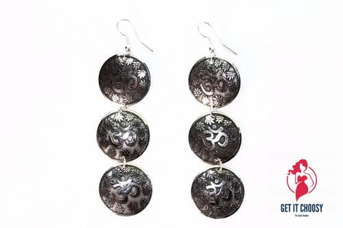 Three Tier Om Earrings with Lotus Petals by Getitchoosy