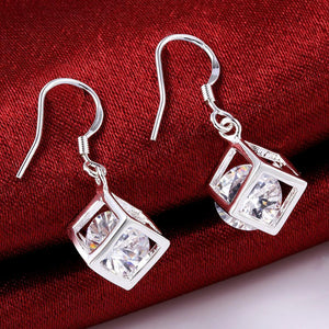 Swarovski Crystal Cube Drop Earring in 18K White by Getitchoosy