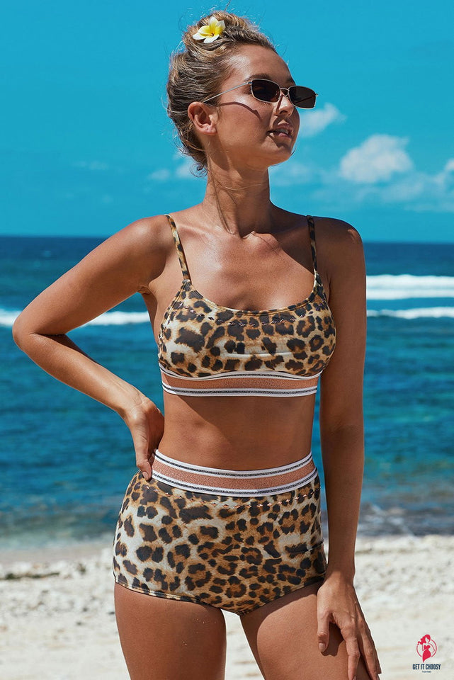 Leopard Two-piece High Waisted Bikini Set by Getitchoosy
