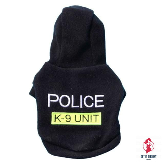 Letter POLICE print pet dog Hooded Coat Fleece by Getitchoosy