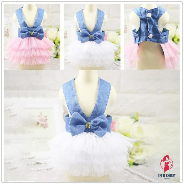 Lovely Lace Pet Dog Layered dress Jean Bowtie Vest by Getitchoosy