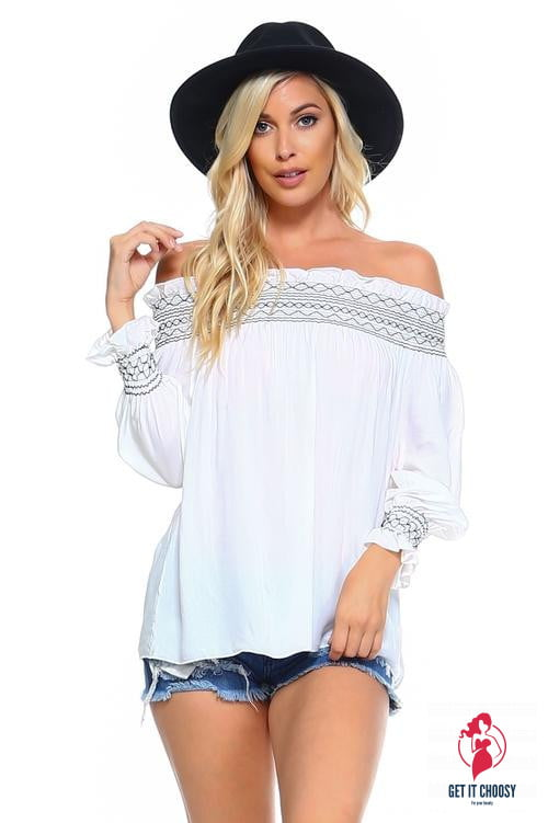 Women's Off Shoulder Stripe Smocked Elastic Top by Getitchoosy