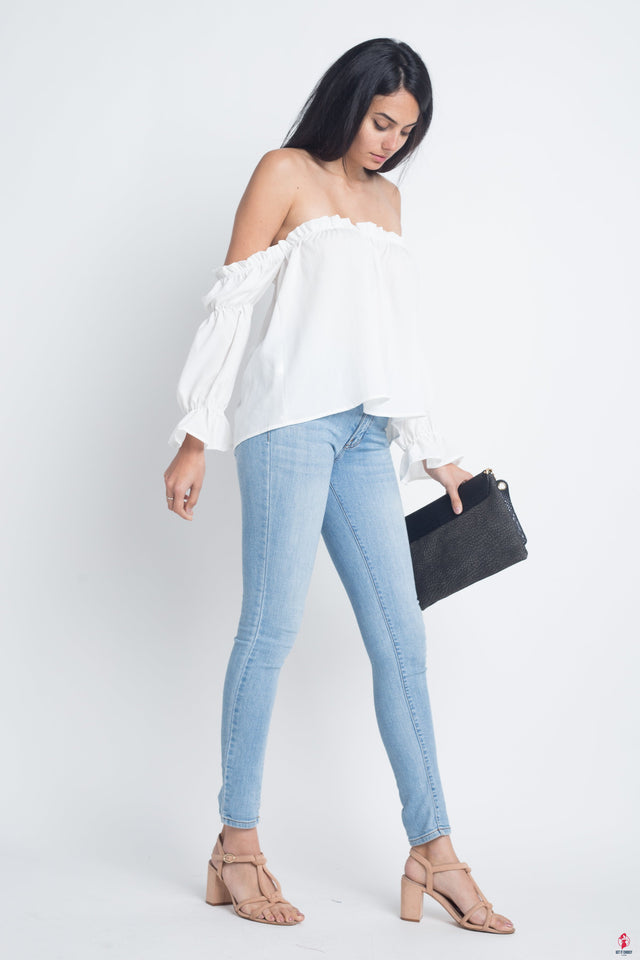 Women's Off Shoulder Ruffle Bardot Top by Getitchoosy