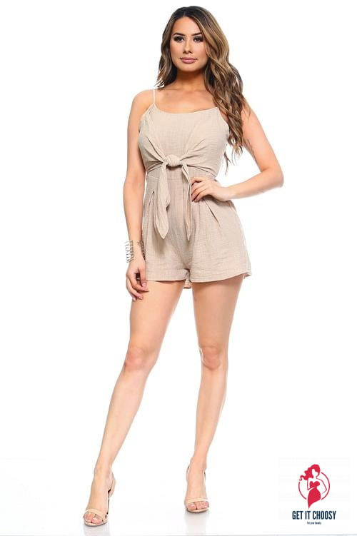 Women's Front Tie Tank Romper with Open back by Getitchoosy