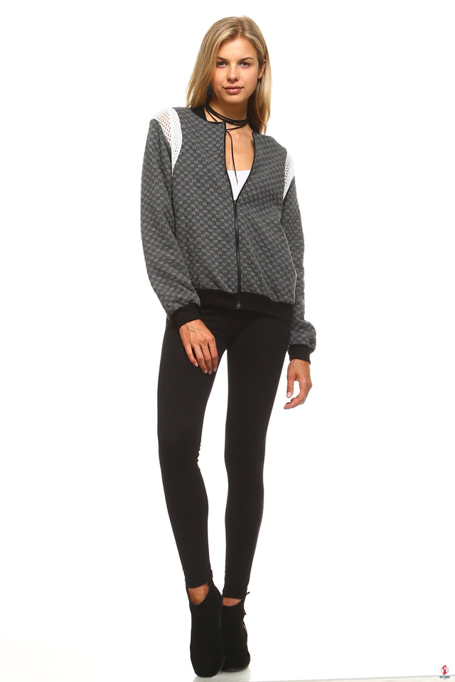 Women's Checkered Mesh Detail Bomber by Getitchoosy