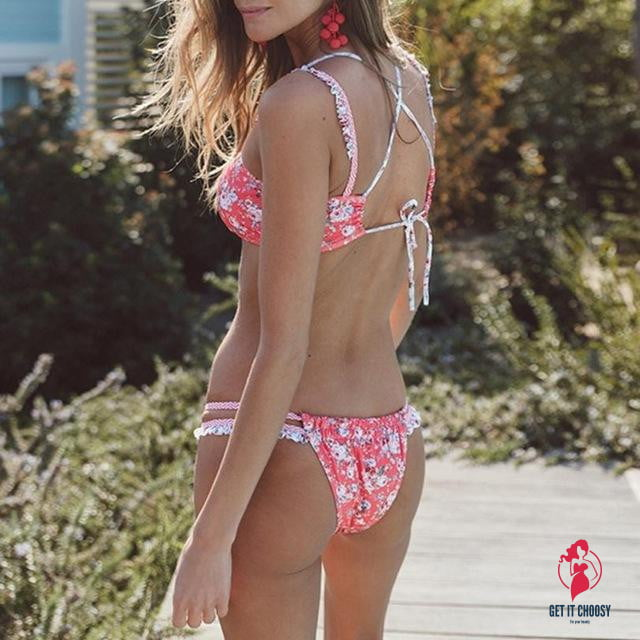 Magnificent Sexy Women Bikini Set Flowers Print by Getitchoosy