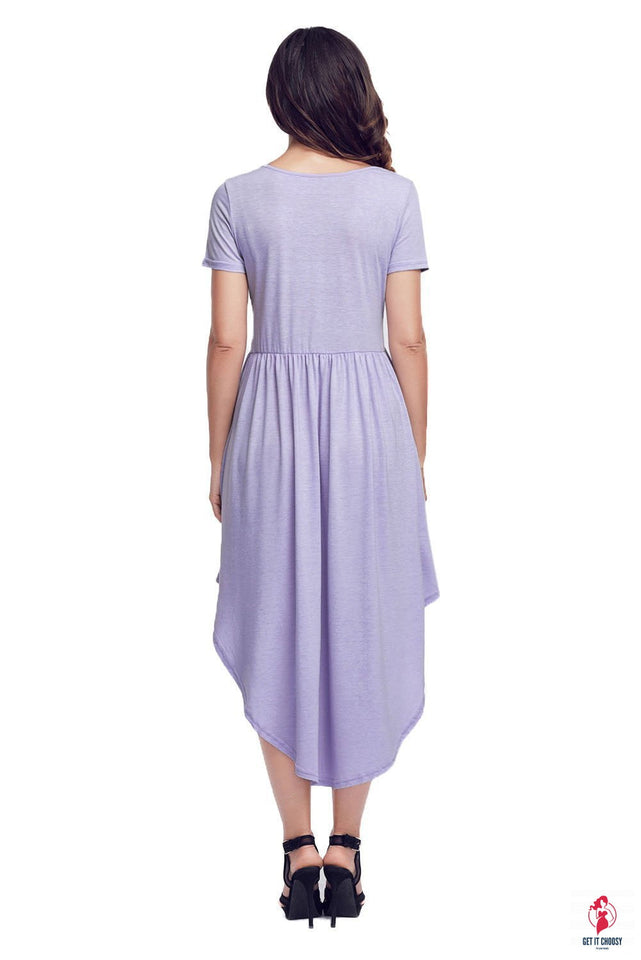 Mauve Short Sleeve High Low Casual Swing Dress by Getitchoosy
