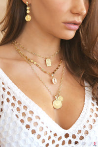 Simplicity 18kt Gold Plated Coin & Chain Necklace by Getitchoosy